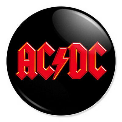 "AC/DC Red Logo 25mm 1"" Pin Badge Button ACDC Malcolm Young Hard Rock & Roll"