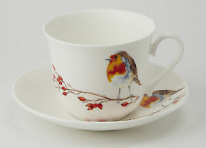 Roy-Kirkham-Robin-450ml-Large-Cup-amp-Saucer-Bone-China-Gift-Tea-Coffee-Chocolate