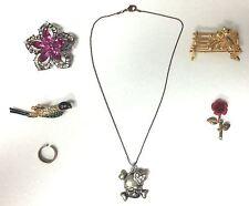 Costume Jewelery Lot Skull Necklace 925 Silver Ring Cats Bird Flower Brooch Pins