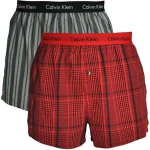 b5f6ea0930d Calvin Klein Men s CK Woven Cotton Loose Slim Fit Boxer 2-Pack ...