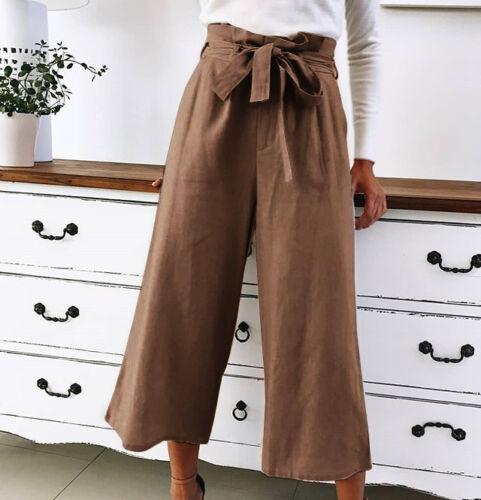 Women High Waist OL Office Long Pants Lady Wide Leg Casual Loose Palazzo Trouser
