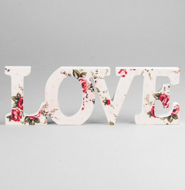 Wooden Vintage Floral Love Word Block Letters Sign Wedding Gift Plaque