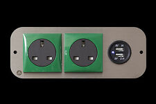 Hyundai i load 2.1A Dual USB X2 240v Green Berker Coloured Surround