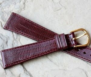 Oxblood-19mm-Genuine-Teju-Lizard-vintage-watch-band-NOS-1960s-70s-unpadded-flat