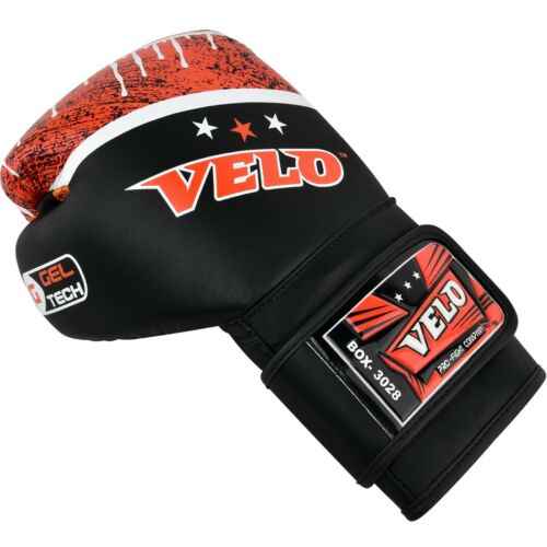 VELO Leather Boxing Gloves Fight Punch Bag MMA Kickboxing Muay thai Sparring