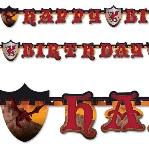 Buchstabenkette Happy Birthday Raumdeko Pappe 1,77m lang Ritter