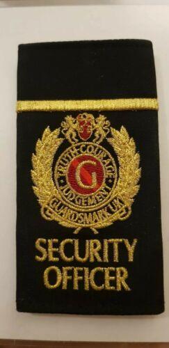 SECURITY. Guardsmark UK Officer paire de Black /& Gold épaulette extérieure Curseurs