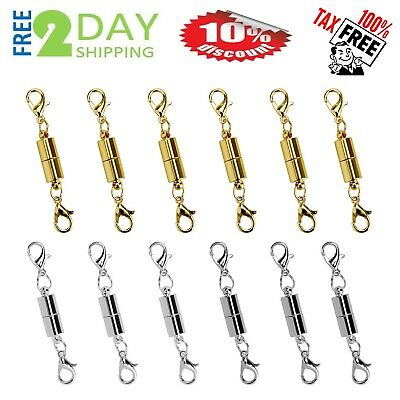 12PCS Magnetic Lobster Lock Clasps for Necklace Bracelet Jewelry Secure Extender