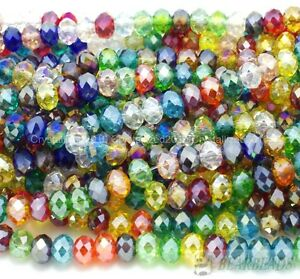 Mixed-100Pcs-Top-Czech-Crystal-Faceted-Rondelle-Spacer-Beads-3mm-4mm-6mm-7mm-8mm