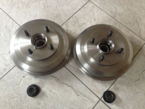 FORD FUSION REAR 2 BRAKE DRUMS /& SHOES 2 WHEEL BEARINGS FITTED /& FITTING KIT