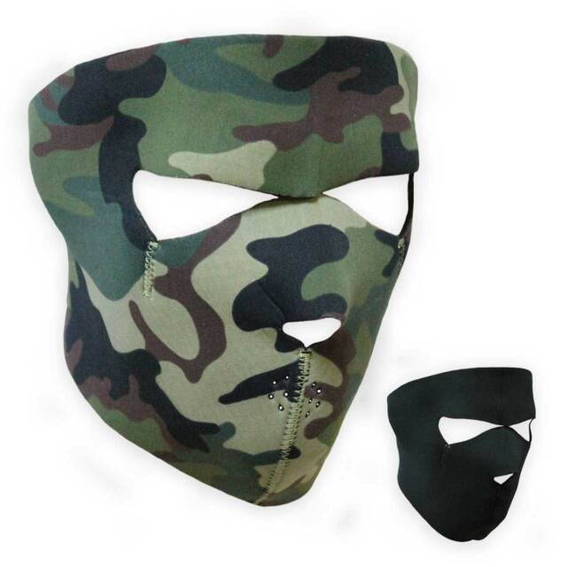 Reversible Woodland Camo or Black Airsoft Paintball Army Neoprene Full Face Mask
