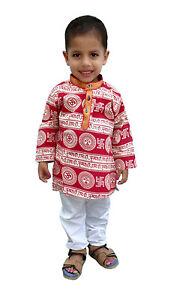 c52ccb1822fa Kids kurta Pajama Indian Om Print hand Print Boys Suit Ethnic dress ...