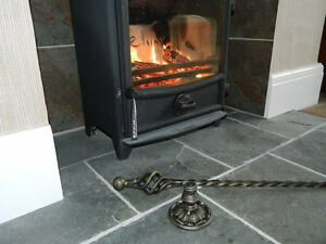 Open Fire Contemporary Style Hand Forged Wrought Iron Fire Poker with Stand