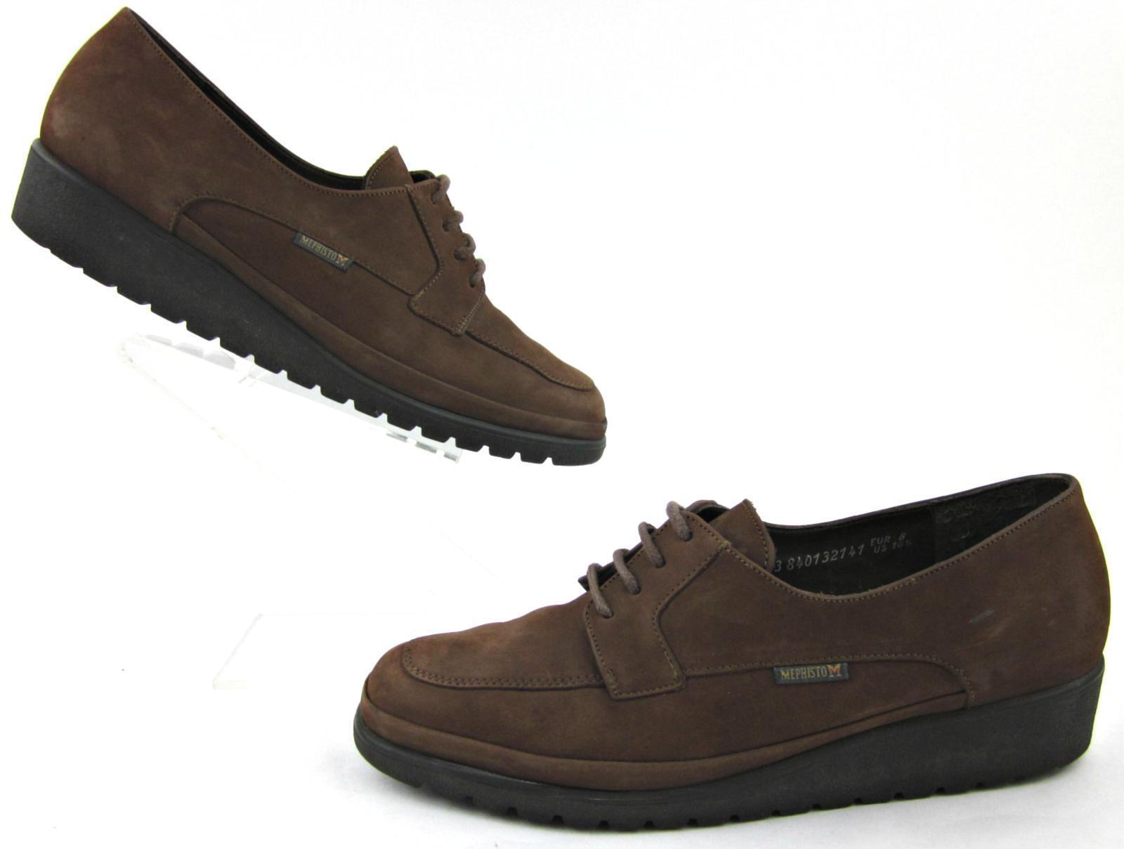 Mephisto mujeres mujeres mujeres Moc Toe Zapatos Con Cordones De Cuero Marrón Nobuck US 10.5  a precios asequibles