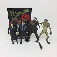 VTG X-Files Action Figure Lot Mulder, Scully, Alien, Caveman & Book McFarlane