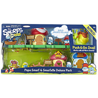 NEW The Smurfs 2 Micro Village Smurfette Papa Smurf Deluxe pack with push snail Toys