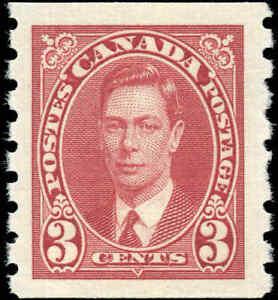 1937-Mint-NH-Canada-3c-VF-Scott-240-Mufti-Coil-Stamp