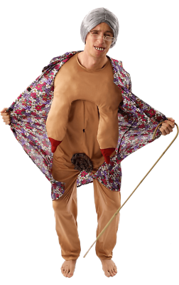 Zombie Bloody Rude Old Lady Granny Flasher Unisex Halloween Fancy Dress Costume