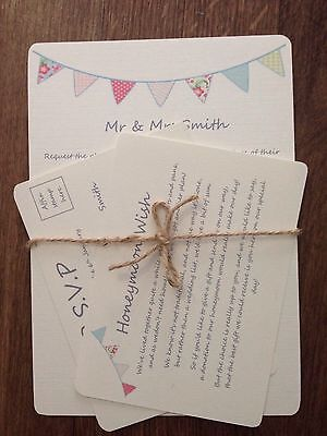 Wedding Day / Eve Invitations Beautiful Vintage Bunting Fete RSVP