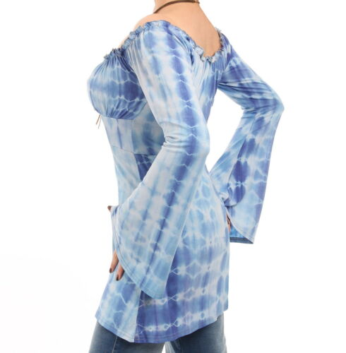 Long Top Tie Off The Dye Blue Bell Shoulder Sleeve Top zq68aa