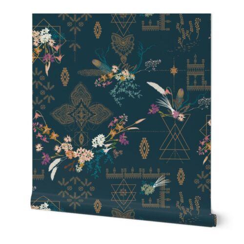 Wallpaper Roll Bohemian Boho Navy Gold Modern Dark Floral Exotic 24in x 27ft