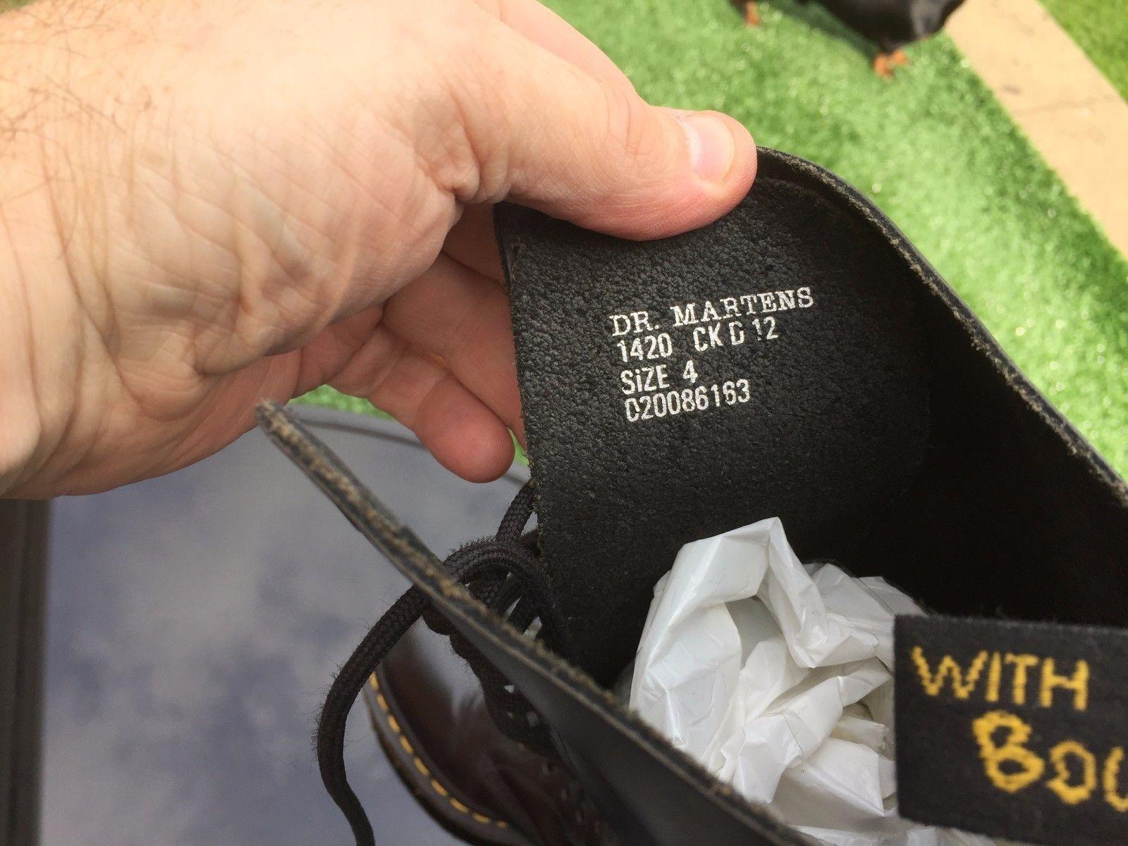 modelo más vendido Vintage de la marca Vintage vendido Dr Martens 1420 Negro Cuero Liso Botas De Reino Unido 4 Hecho en Inglaterra.. 956700