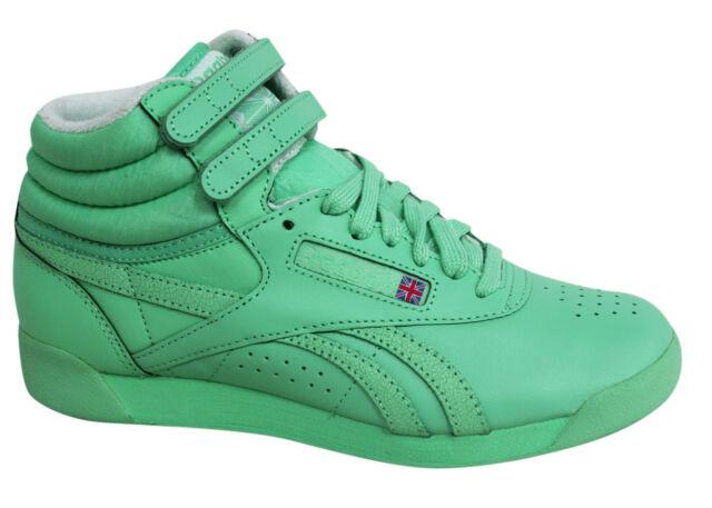 9cfe55633eb22 Reebok F S Classic Spirit Lace Up Mint Green Womens Hi Tops Trainers M45866  M13