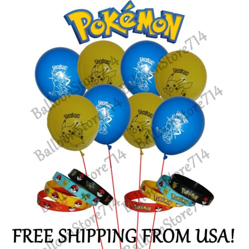 Pokemon Silicone Bracelets and//or Balloons! Birthday Party Favors ~ Pikachu