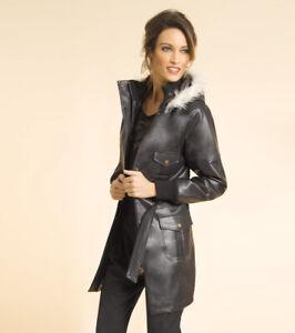 Parka con capucha extraíble en símil piel mujer - 132013