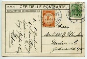 GERMANY-LUFTPOST-1912-official-postcard-Jagdschloss-5pf-10pf-label-DARMSTADT