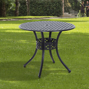 Clearance Sale Outsunny Cast Aluminum Garden Round Dining Table w/ Umbrella