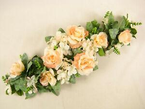 Artificial-Flowers-Peach-Rose-Hydrangea-Astilbe-Table-Centrepiece-Wedding-Car