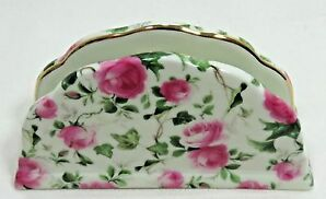 Porcelain Napkin Holder Victoria's Garden Lowell Ma 01853 Pink Roses Gold Trim