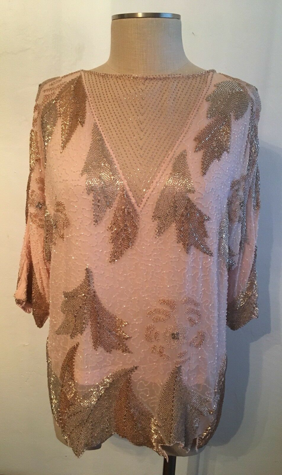 Vintage damen Dominique Boutique Beaded Embellished Rosa Silk Leaf Motif Top 8