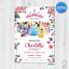 Printable Disney Princess Personalised Floral Birthday Invitation 7 Designs