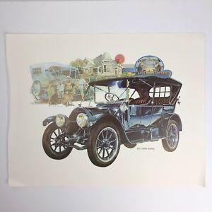 "Vintage Paul Melia Car Print / Poster - 1913 Cadillac Touring - 18"" x 14"""