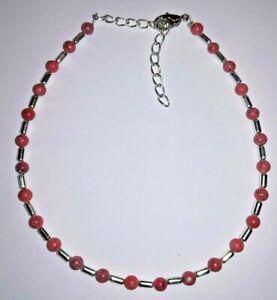 +fußkette,howlithperlen In Rottönen, Metall,fusskettchen O. Längeres Armband Seien Sie Freundlich Im Gebrauch