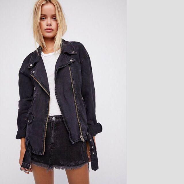 luxury lowest price presenting People Oversized Denim Moto Jacket Medium M Black OB672931