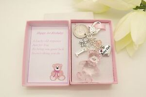 Image Is Loading Personalised 1st Birthday Teddy Bear Sixpence Baby Girl