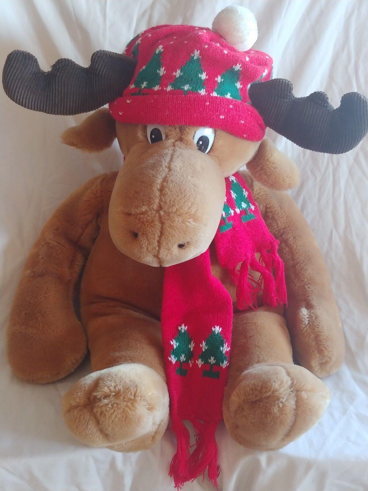 Vtg 22 22 22  Reindeer Christmas Plush Stuffed Animal Hat Scarf 1986 70aad9