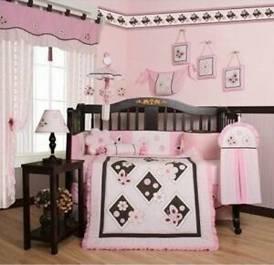 Image Is Loading S Crib Bedding Pink Brown Erfly 13 Pc