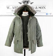 Men's Khaki Green Hooded Parka Long Brit Pop Military 60's Style MOD Coat UK M