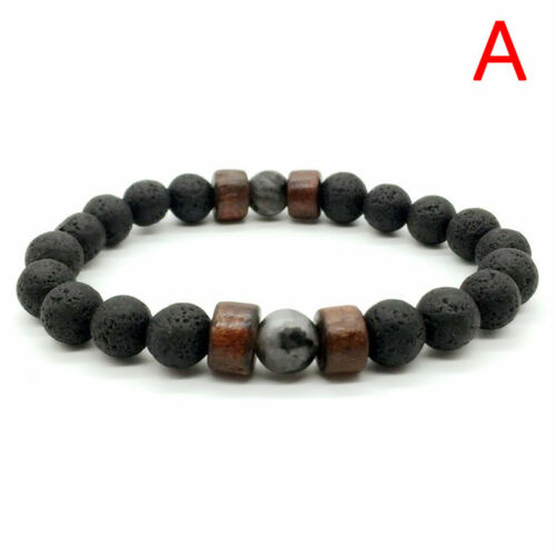 Men Women 8mm Lava Diffuser Bracelet Elastic Natural Stone Yoga Beads Bracel  lq