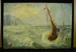 School-Italian-Xixth-Marine-Signed-Noudie-Boats-Sailboats-IN-the-Storm-16-1-2in