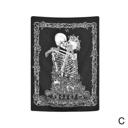 Cráneo gótico sol Tapiz Colgante De Pared Mandala Tapestry Colcha Decoración Arte S2G6
