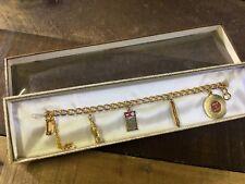 Vintage Gold Charm Bracelet Coca Cola Transistor Radio Record Hot Dog NOS In Box