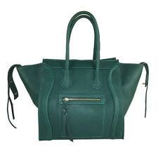Borsa vera pelle Made in italy genuine leather FG Celin verde scuro