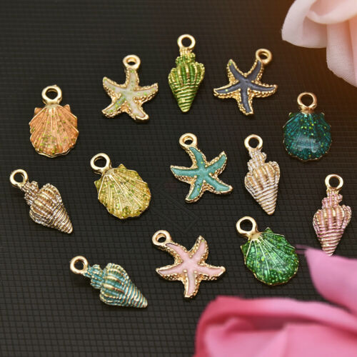 13 Pcs Mixed Metal Starfish Conch Shell Charms Pendant DIY Jewelry Making new