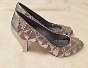 Franco-Sarto-Womens-Open-Toe-Heels-shoes-9-M-Silver-Leather-amp-Gray-Suede-1695702