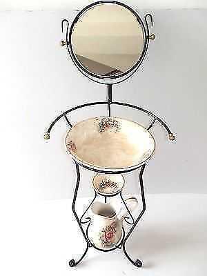 Set TOILETTE catino brocca piattino ferro battuto SPECCHIO e ceramica TOSCANA